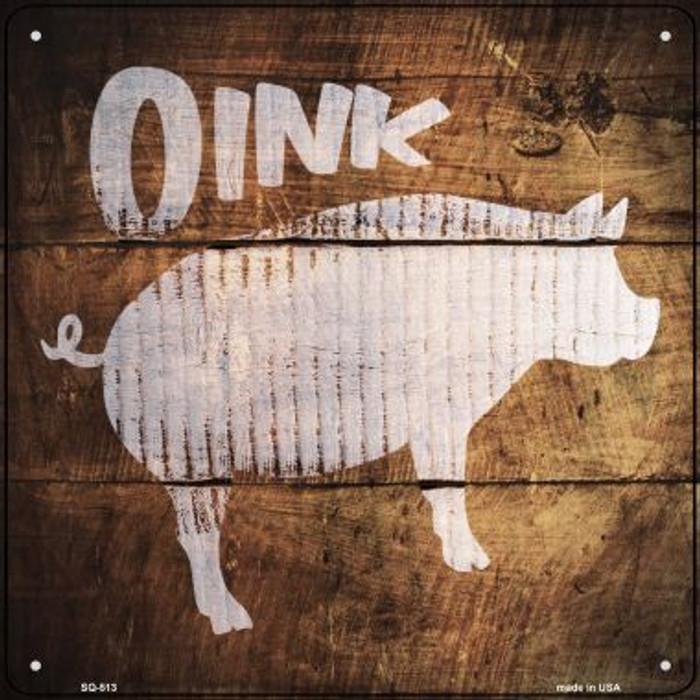 Pig Painted Stencil Novelty Square Sign SQ-513