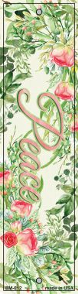 Peace on Flowers Novelty Metal Bookmark BM-012
