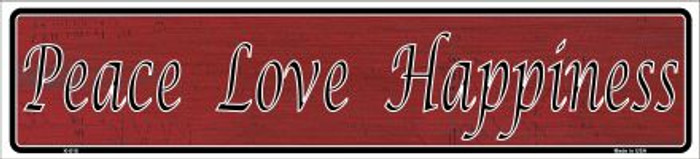 Peace Love Happiness Novelty Metal Vanity Mini Street Sign