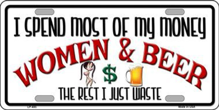 Money On Women And Beer Metal Novelty License Plate LP-405
