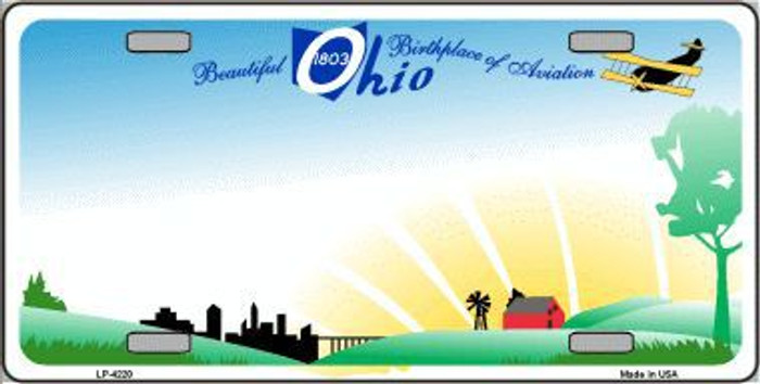 Ohio Novelty State Background Metal Novelty License Plate LP-4220
