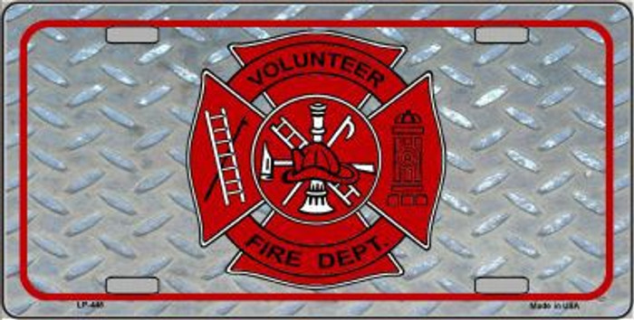 Volunteer Fire Dept Metal Novelty License Plate LP-445