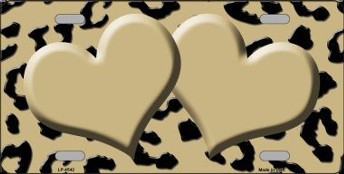 Gold Black Cheetah With Gold Center Hearts Metal Novelty License Plate LP-4542