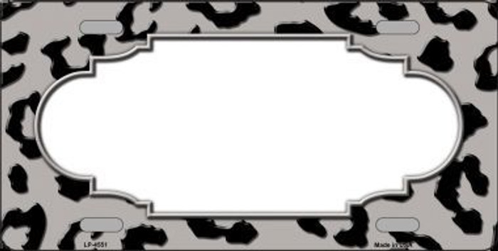 Grey Black Cheetah Print With Scallop Metal Novelty License Plate LP-4551
