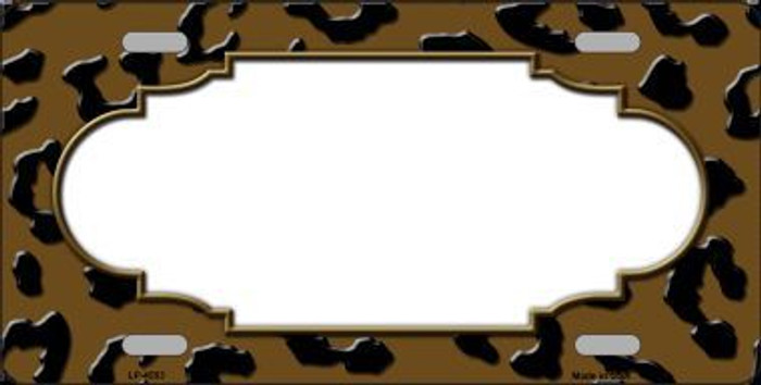 Brown Black Cheetah Print With Scallop Metal Novelty License Plate LP-4553