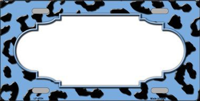 Light Blue Black Cheetah Print With Scallop Metal Novelty License Plate LP-4554