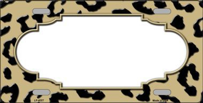 Gold Black Cheetah Print With Scallop Metal Novelty License Plate LP-4557