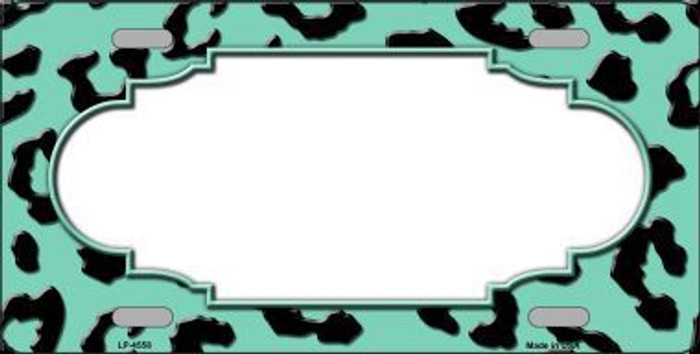 Mint Black Cheetah Print With Scallop Metal Novelty License Plate LP-4558