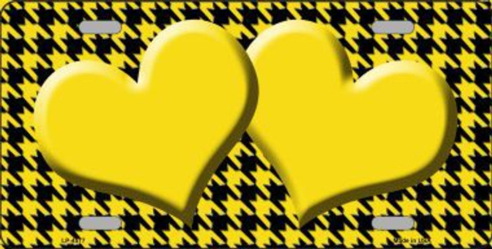 Yellow Black Houndstooth With Yellow Center Hearts Metal Novelty License Plate LP-4577