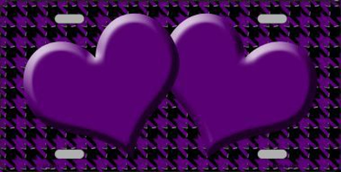 Purple Black Houndstooth With Purple Center Hearts Metal Novelty License Plate LP-4581