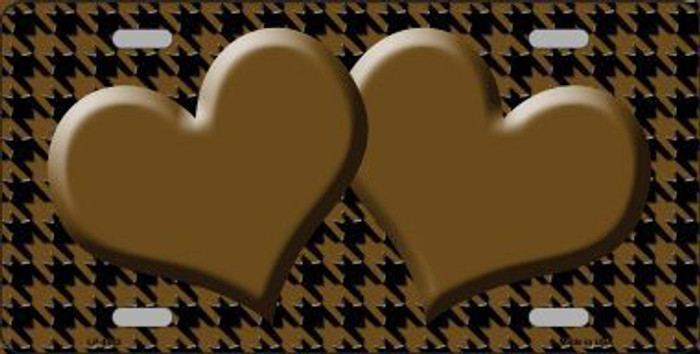 Brown Black Houndstooth With Center Hearts Metal Novelty License Plate LP-4582