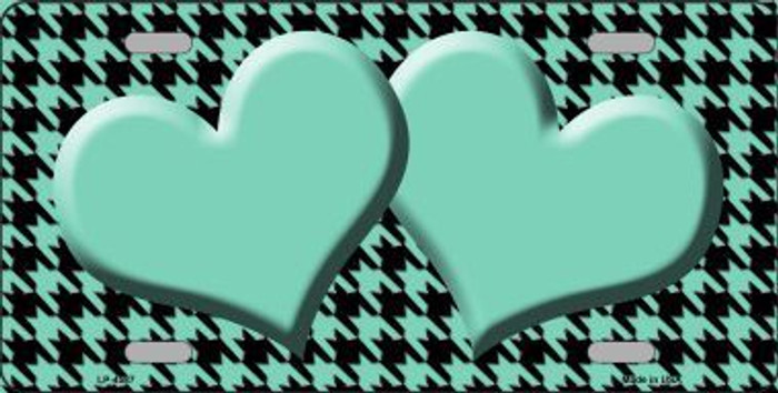 Mint Black Houndstooth With Mint Center Hearts Metal Novelty License Plate LP-4587