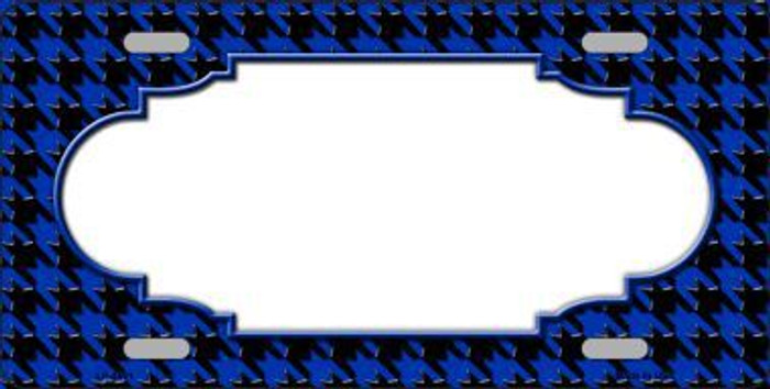 Blue Black Houndstooth With Scallop Center Metal Novelty License Plate LP-4591