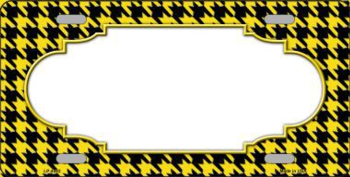 Yellow Black Houndstooth With Scallop Center Metal Novelty License Plate LP-4592