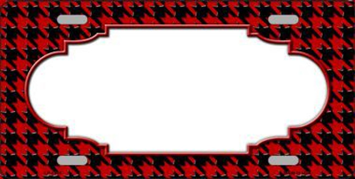 Red Black Houndstooth With Scallop Center Metal Novelty License Plate LP-4594