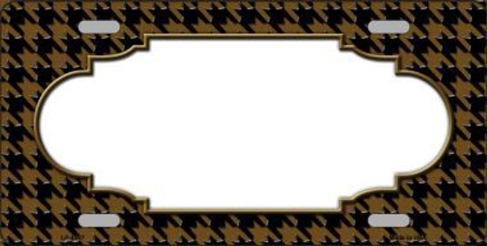 Brown Black Houndstooth With Scallop Center Metal Novelty License Plate LP-4597