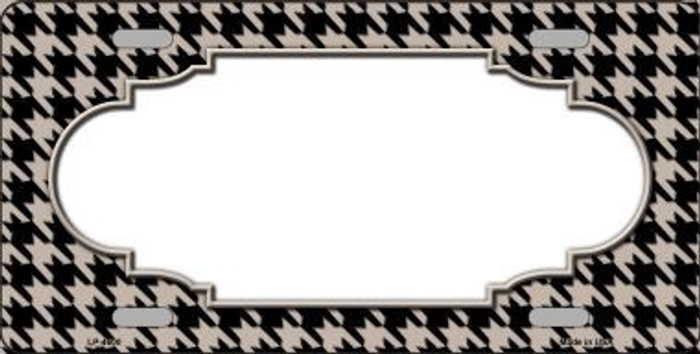 Tan Black Houndstooth With Scallop Center Metal Novelty License Plate LP-4600
