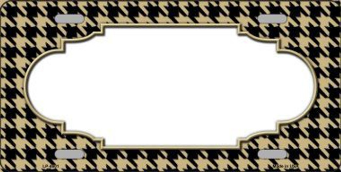 Gold Black Houndstooth With Scallop Center Metal Novelty License Plate LP-4601