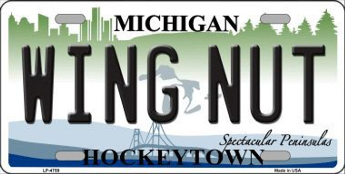 Wing Nut Michigan State Metal Novelty License Plate LP-4759