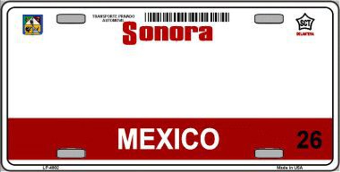 Sonora Mexico Novelty Background Metal License Plate LP-4802