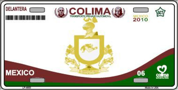Colima Mexico Novelty Background Metal License Plate LP-4803