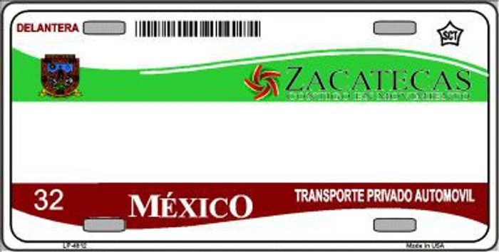Zachatecas Mexico Novelty Background Metal License Plate LP-4812