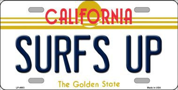 Surfs Up California Novelty Metal License Plate LP-4903