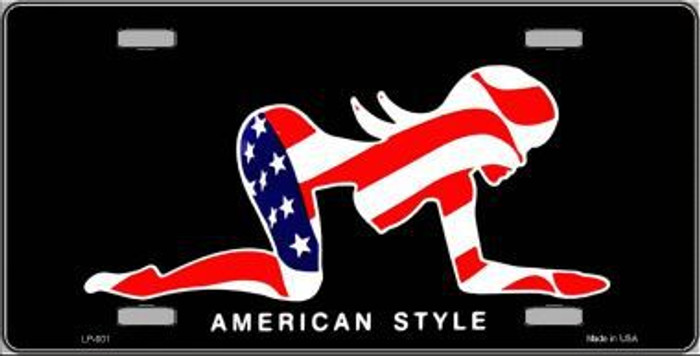 American Style Sexy Flag Pose Metal License Plate