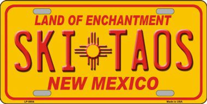 Ski Taos Yellow New Mexico Novelty License Plate LP-5004