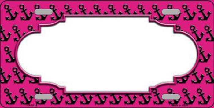 Pink Black Anchor Print With Scallop Center Metal Novelty License Plate LP-5314