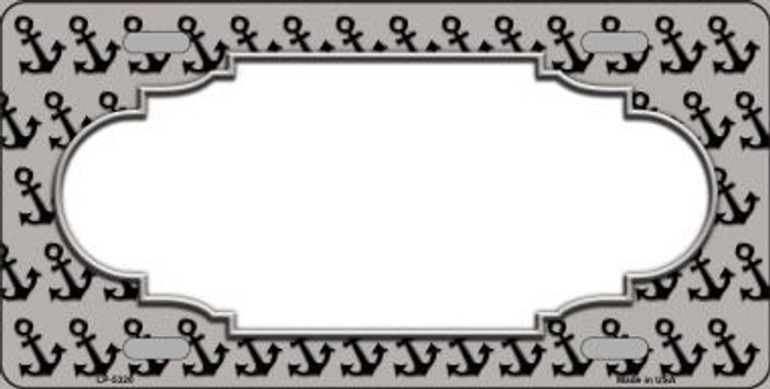 Grey Black Anchor Print With Scallop Center Metal Novelty License Plate LP-5320