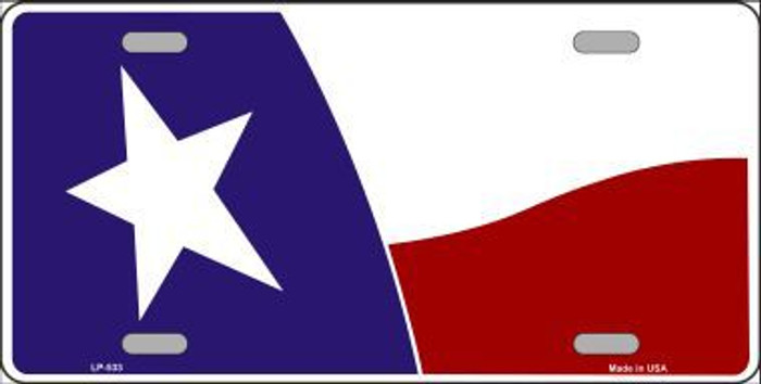 Texas State Flag Waving Metal Novelty License Plate