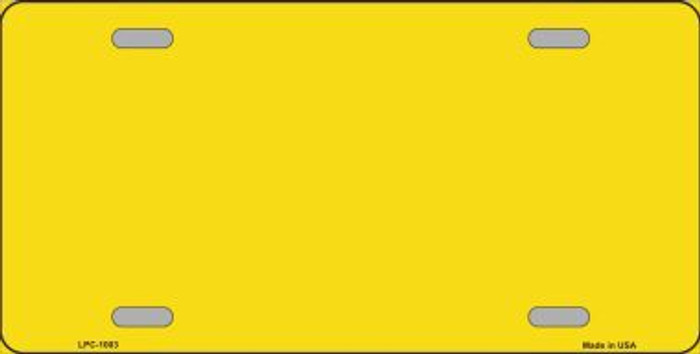 Yellow Metallic Solid Background Metal Novelty License Plate