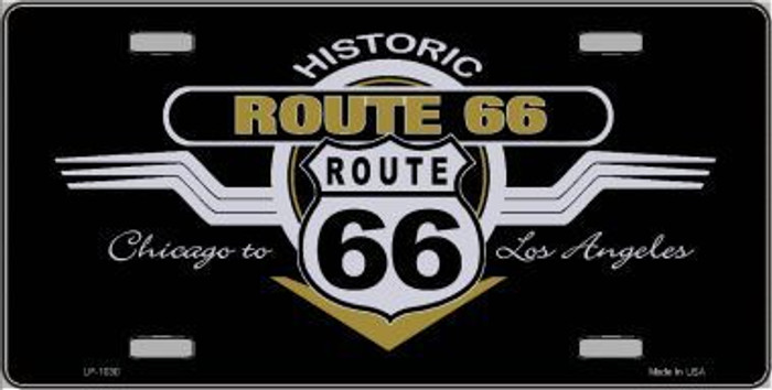 Route 66 Shield Wings Novelty Metal License Plate