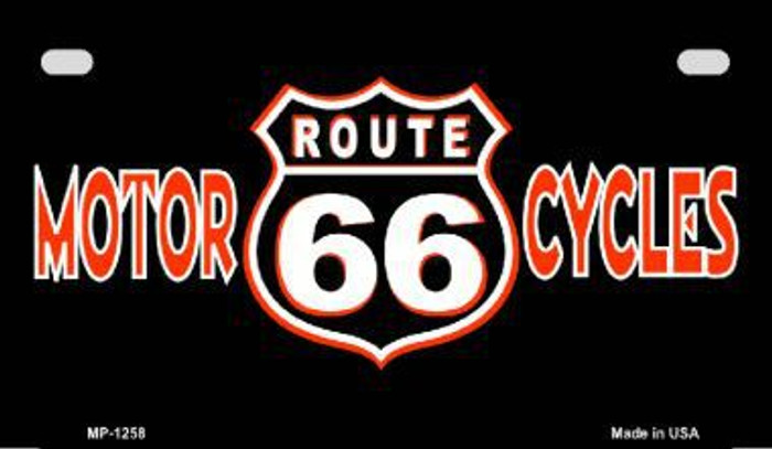 Route 66 Motorcycles Metal Novelty Motorcycle License Plate