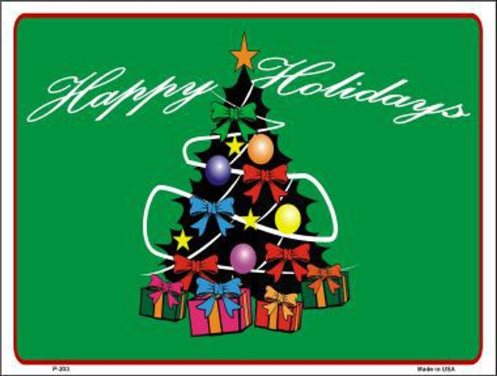 Happy Holidays Tree Metal Novelty Parking Sign P-203