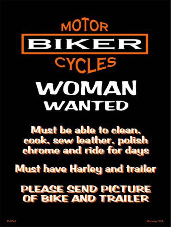 Woman Wanted Metal Novelty Parking Sign