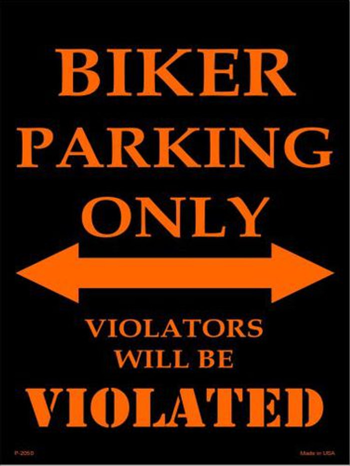 Biker Parking Only Metal Novelty Parking Sign