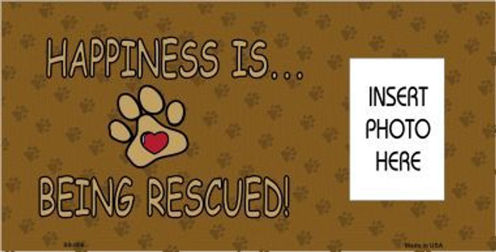 Happiness Rescued With Photo Insert Pocket Metal Novelty Sign
