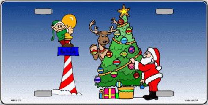 Santa Elf Tree Metal Novelty License Plate XMAS-03