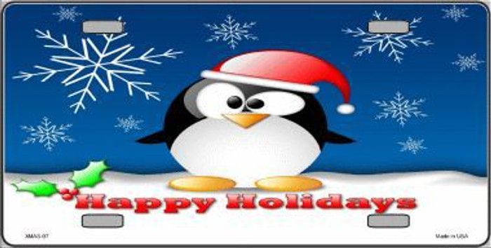 Happy Holidays Penguin Metal Novelty License Plate XMAS-07