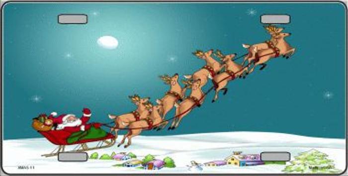 Santa And Reindeer Metal Novelty License Plate XMAS-11