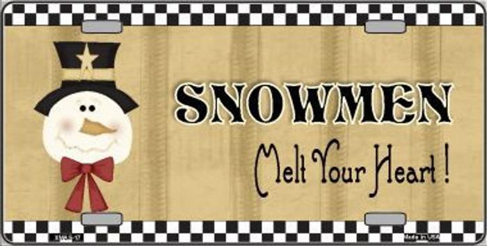 Snowmen Melt Your Heart Metal Novelty License Plate XMAS-17