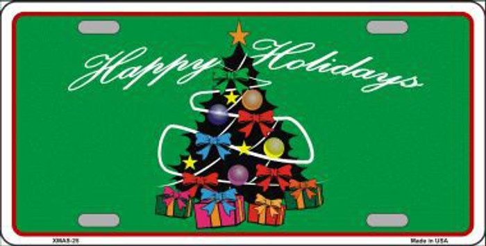 Happy Holidays Christmas Tree Metal Novelty License Plate