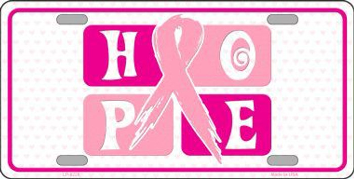 Hope Breast Cancer Ribbon Novelty Metal License Plate