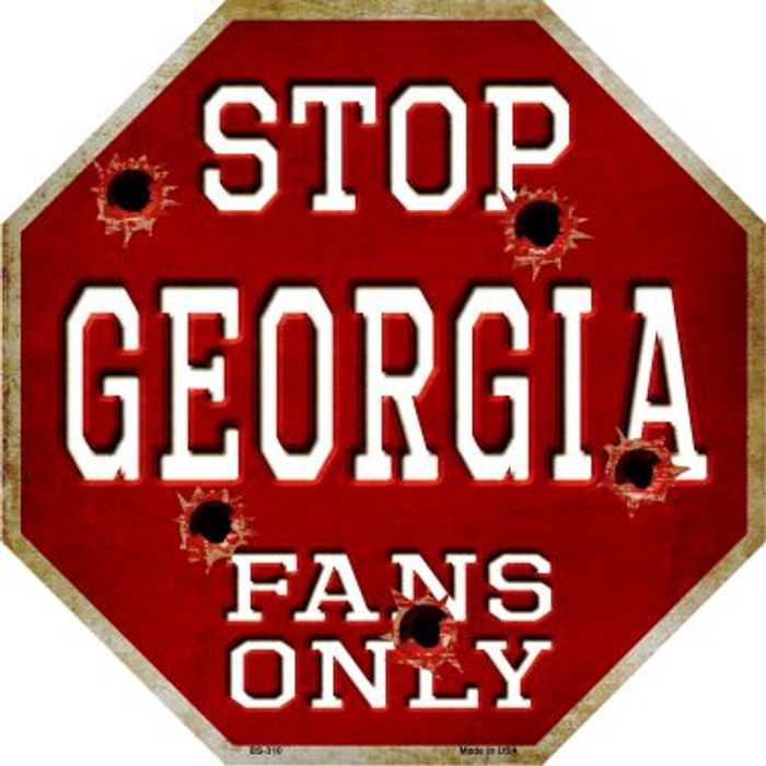 Georgia Fans Only Metal Novelty Octagon Stop Sign BS-310