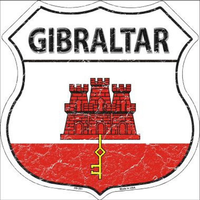 Gibraltar Country Flag Highway Shield Metal Sign