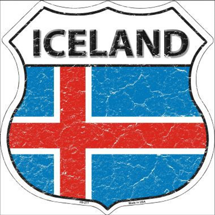 Iceland Country Flag Highway Shield Metal Sign