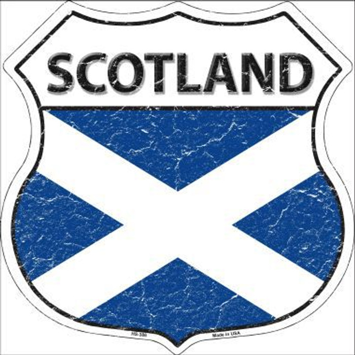 Scotland Country Flag Highway Shield Metal Sign