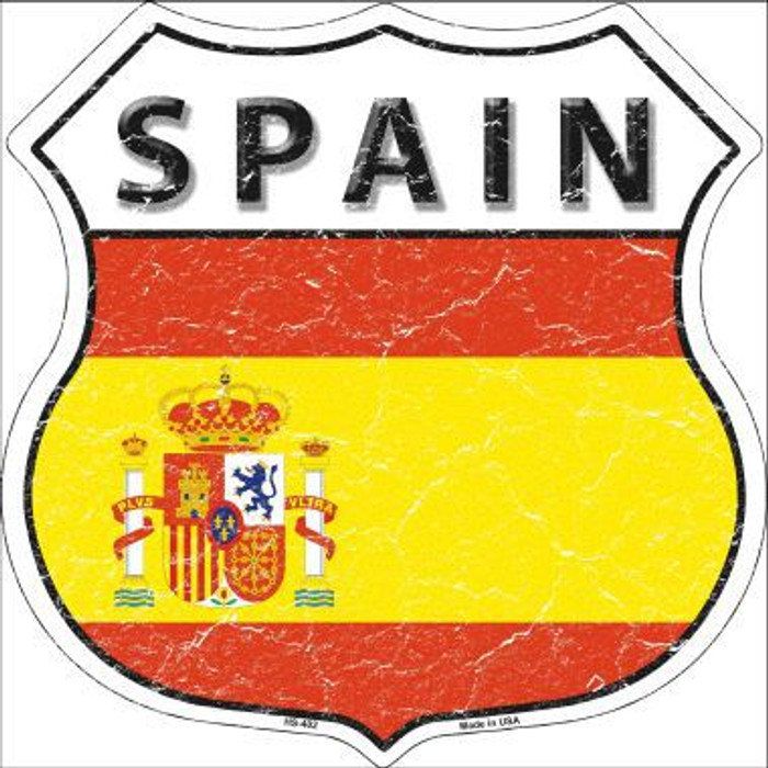 Spain Country Flag Highway Shield Metal Sign